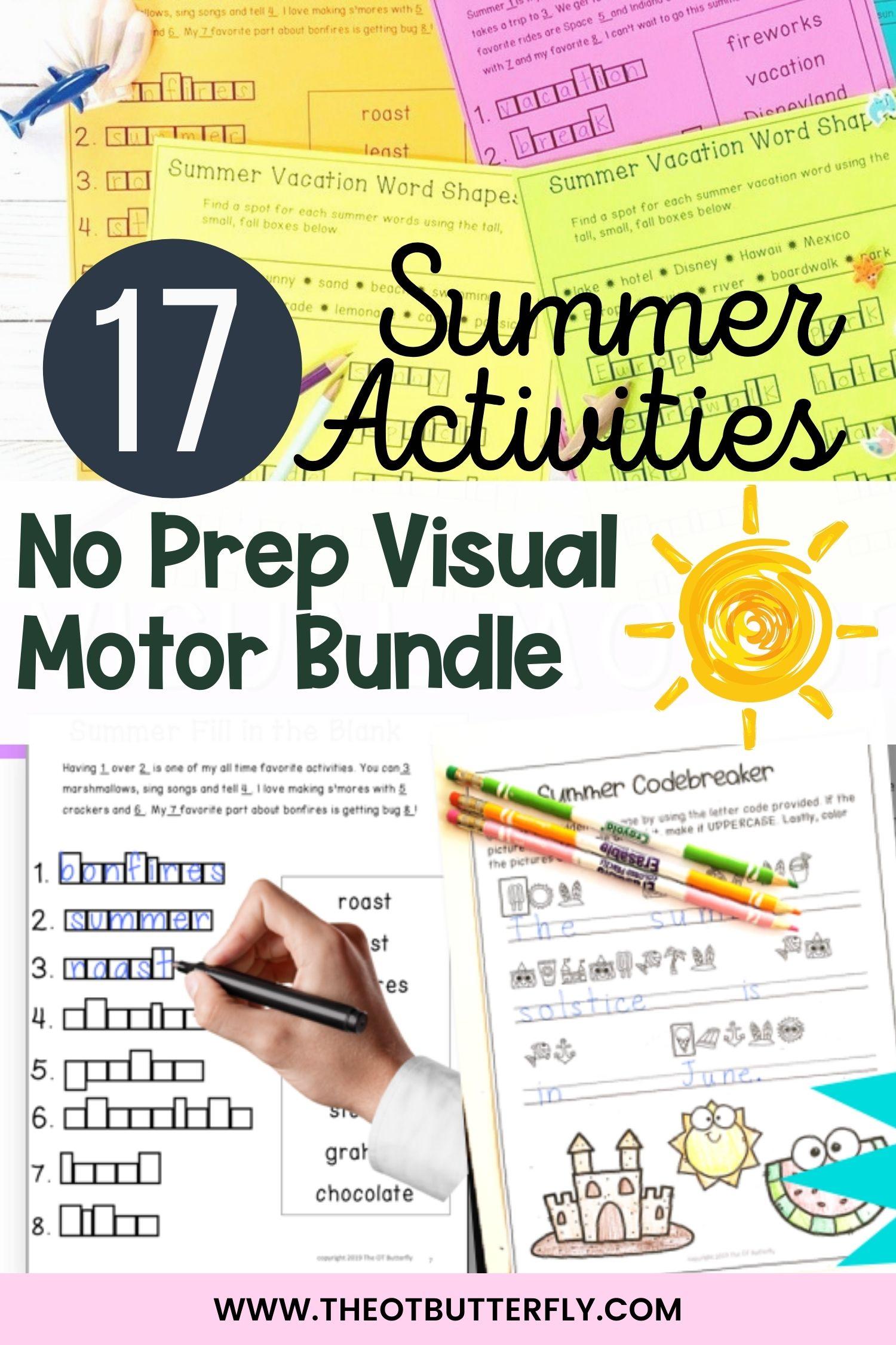 17 Summer Activities Visual Motor Bundle Pin